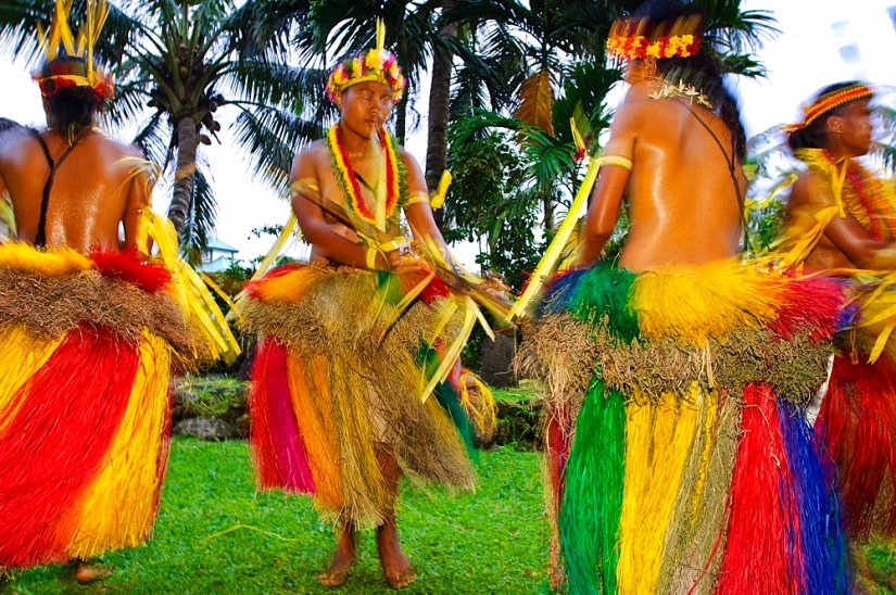 Yapese dancers performing the traditional bamboo stick dance, Yap, Micronesia, Pacific