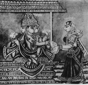 Lord_Brahma_and_Adhiti_-_19th_Century_Illustration