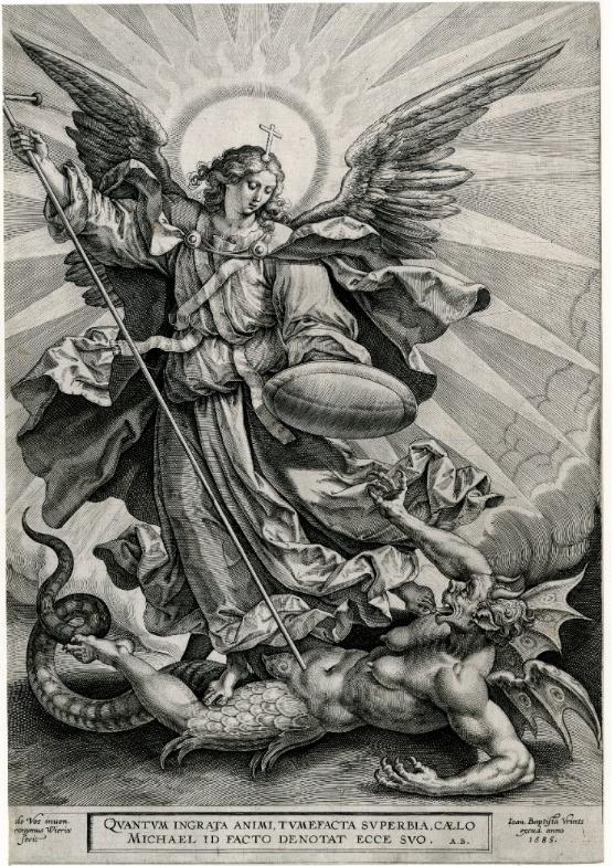 San Miguel triunfando sobre el dragón; San Miguel, sosteniendo una lanza cruzada y un escudo, se ve parado y transfigurando a una criatura monstruosa, con pechos, alas y una cola de dragón. Grabado.Museo Británico.